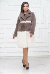 Итальянское пальто из овчины и ламы PUNTO. Фото 1.
