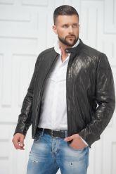 Мужская кожаная куртка на молнии. Фото 2.
