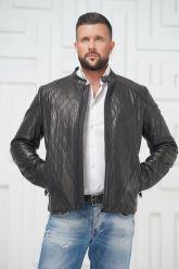 Мужская кожаная куртка на молнии. Фото 3.