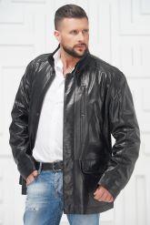 Удлиненная мужская кожаная куртка. Фото 3.