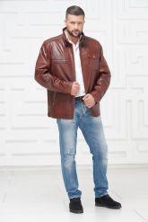 Короткая мужская кожаная куртка больших размеров. Фото 1.