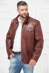 Короткая мужская кожаная куртка больших размеров. Фото 2.