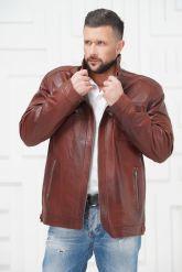 Короткая мужская кожаная куртка больших размеров. Фото 3.
