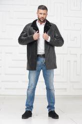 Мужская кожаная куртка на меху черного цвета. Фото 1.