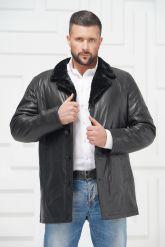 Мужская кожаная куртка на меху черного цвета. Фото 2.