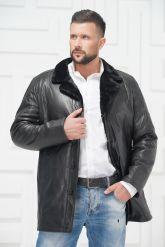 Мужская кожаная куртка на меху черного цвета. Фото 3.