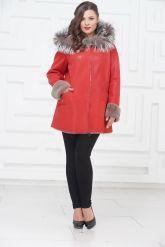 Удлиненная куртка из овчины с чернобуркой. Фото 1.
