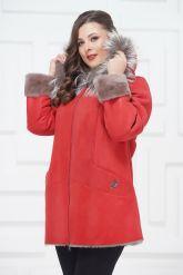 Удлиненная куртка из овчины с чернобуркой. Фото 3.