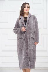 Нежное длинное пальто из овчины. Фото 2.