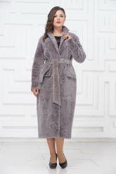 Нежное длинное пальто из овчины. Фото 4.