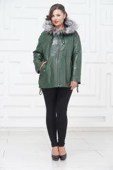 Кожаная куртка зеленого цвета с чернобуркой. Фото 1.