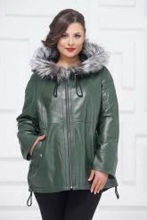 Кожаная куртка зеленого цвета с чернобуркой. Фото 3.