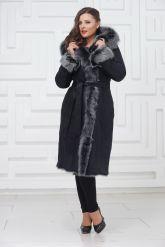 Зимняя длинная дубленка с не стриженным мехом тоскана. Фото 1.