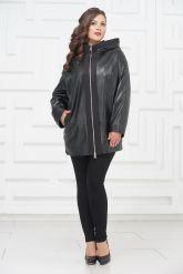 Кожаная куртка большого размера с молниями по бокам. Фото 1.