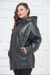 Кожаная куртка большого размера с молниями по бокам. Фото 2.