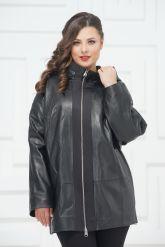 Кожаная куртка большого размера с молниями по бокам. Фото 3.