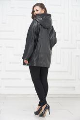 Кожаная куртка большого размера с молниями по бокам. Фото 4.