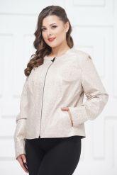 Короткая кожаная куртка большого размера шанель светлого цвета. Фото 2.