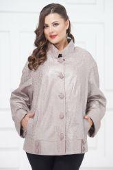 Кожаная куртка больших размеров жемчужного цвета на пуговицах. Фото 3.