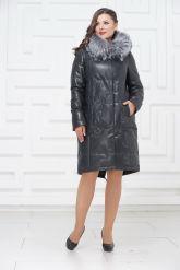Зимнее кожаное пальто цвета берлинской лазури. Фото 1.