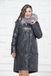 Зимнее кожаное пальто цвета берлинской лазури. Фото 2.