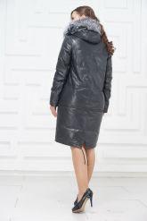 Зимнее кожаное пальто цвета берлинской лазури. Фото 4.