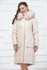Зимнее кожаное пальто цвета слоновой кости. Фото 2.