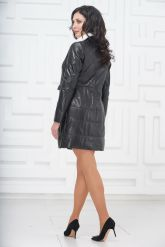 Демисезонное кожаное пальто с воротником из меха норки. Фото 5.