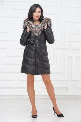 Кожаное пальто с мехом чернобурки. Фото 1.