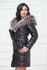 Кожаное пальто с мехом чернобурки. Фото 3.