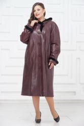 Утепленное кожаное пальто для милых дам. Фото 1.