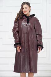 Утепленное кожаное пальто для милых дам. Фото 2.