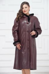 Утепленное кожаное пальто для милых дам. Фото 3.