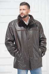 Мужская кожаная куртка на меху больших размеров на пуговицах. Фото 2.