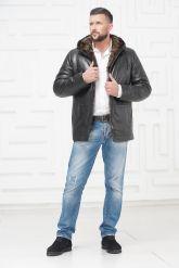 Зимняя кожаная куртка с не стриженным мехом тоскана. Фото 1.