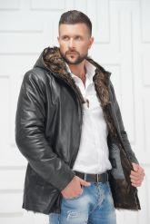 Зимняя кожаная куртка с не стриженным мехом тоскана. Фото 2.