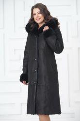 Классическое пальто из овчины черного цвета на пуговицах. Фото 4.