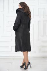 Классическое пальто из овчины черного цвета на пуговицах. Фото 5.