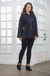 Удлиненная кожаная куртка синего цвета FS. Фото 4.