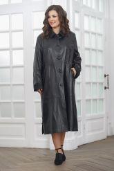 Длинный кожаный плащ черного цвета. Фото 2.