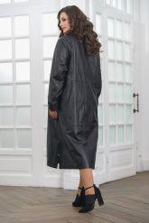 Длинный кожаный плащ черного цвета. Фото 3.