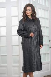 Длинный кожаный плащ черного цвета. Фото 4.