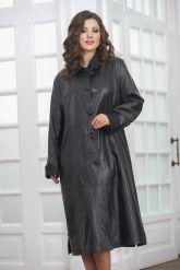 Длинный кожаный плащ черного цвета. Фото 5.