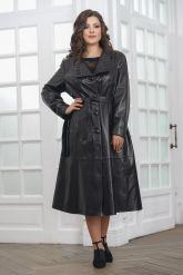Красивое кожаное пальто со сменными воротниками. Фото 8.