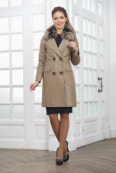 Светлое кожаное пальто. Фото 1.