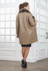 Светлое кожаное пальто. Фото 2.
