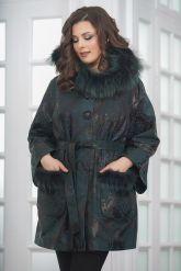 Изумрудное пальто из замши. Фото 4.