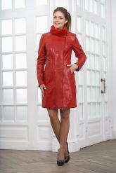 Кожаное пальто с выделкой под кроку. Фото 1.