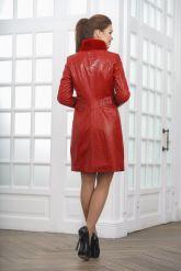 Кожаное пальто с выделкой под кроку. Фото 2.