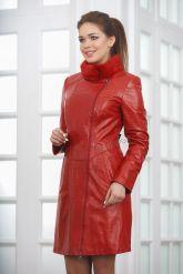 Кожаное пальто с выделкой под кроку. Фото 3.